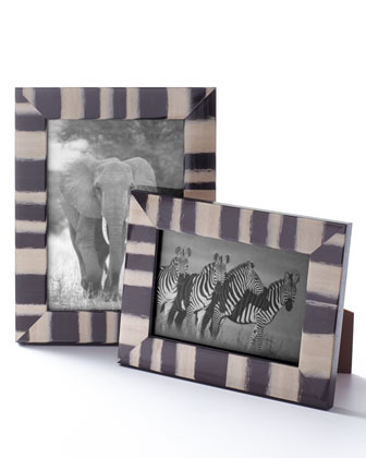 Black and Ivory Stripe Frame