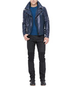 Leather Biker Jacket, Crewneck Sweater with Ribbed Detail & Resin-Coated Biker Jeans