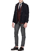 Suede Safari Jacket, Plaid Two-Button Sport Coat & Button-Down Shirt
