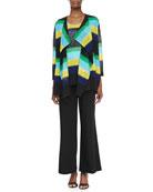 Striped Draped Knit Jacket, Contrast-Colored Striped Knit Tank & Wide-Leg Jersey Pants, Petite