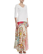 3/4-Sleeve V-Neck Tee & Georgette Mixed Floral-Print Maxi Skirt