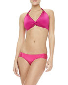 Shimmery Twisted Halter Top & Ruched-Side Swim Bottom