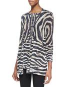 Tiger-Print Linen-Blend Open Cardigan & Tiger-Print Linen-Blend Top