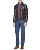Leather Moto Jacket, Quarter-Placket Pullover Sweater, Large Plaid Sport Shirt & Five-Pocket Silk Denim Jean,