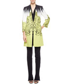 Brushstroke Paisley One-Button Cady Short Topper Jacket, Faux-Wrap Silk Blouse & Cady Flare-Leg Pants