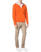 Front-Zip Hoodie, Liquid Jersey V-Neck Tee & Khaki Cargo Pants
