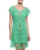 Banana Leaf Crochet Coverup & Formfitting Camisole Slip