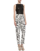Lorita Leather Crop Top & Printed Pleated High-Waist Pants
