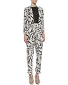 Vanna Printed Open Jacket, Lorita Leather Crop Top & Printed Pleated High-Waist Pants