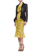 Two-Button Peplum Hem Jacket, Ruffled Tie-Neck Floral-Print Blouse & Ruffle-Hem Skirt