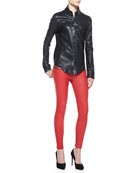 Button-Front Leather Shirt & Leather Zip-Pocket Skinny Pants