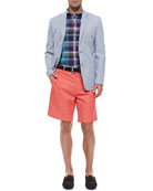 Soft Pincord Jacket, Linen Tattersall Shirt & Lightweight Washed-Twill Shorts