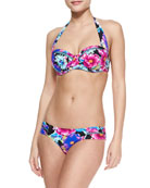 Paradiso Floral-Print Halter Top & Ruched-Side Swim Bottom
