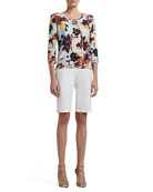 Modern Floral-Printed Welt Knit 3/4-Sleeve Cardigan, Scoop-Neck Shell & Doubleweave Stretch Cotton Bermuda Shorts