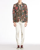 Floral-Print Jacquard Jacket, Silk and Cotton Tee, Equestrian Techno Riding Pants & Floral-Print Silk-Twill Scarf