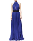 Pleated Harness-Back Gown and 3D Beaded Waist Belt