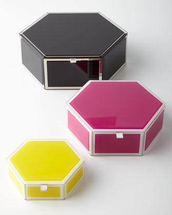 Mia Glass Hexagon Storage Box