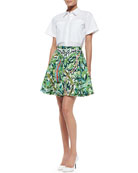 Richard Short-Sleeve Cotton Blouse & Ray Beaded Floral-Print Skirt