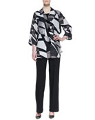 Fragmented-Print Easy Georgette Shirt, Stretch-Knit Long Tank & Straight-Leg Jersey Pants, Women's