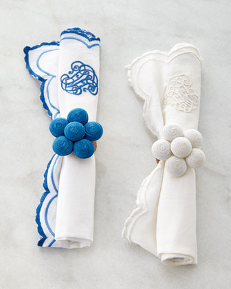 Soutache Blossom Napkin Ring & Heirloom Napkin