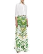 Sharon Cropped Button-Front Blouse & Super-Flare Floral-Print Pants