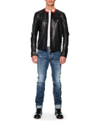 Leather Moto Jacket with Orange Collar, Logo-Pocket Jersey Tee & Distress Denim Jeans