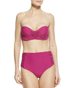 Toledo Bandeau-Neck Macrame Swim Top & Bottoms
