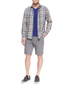 Woven Plaid Sport Shirt, Slub Jersey V-Neck Tee & Welt-Cargo Pocket Shorts