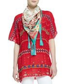 Colorful Daisy Eyelet Blouse & Printed Silk Georgette Scarf