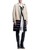 Biker Shearling Coat, Long-Sleeve Tie-Neck Blouse & Crepe Sleeveless Dress