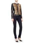 Long-Sleeve Leather Leopard Jacket & Skinny Ankle Jeans