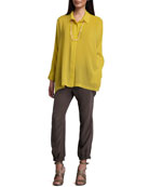 Boxy Silk Blouse & Cargo Pants