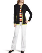 Milano Piped Long Jacket, Striped Tank & Boot-Cut Pants, Women's