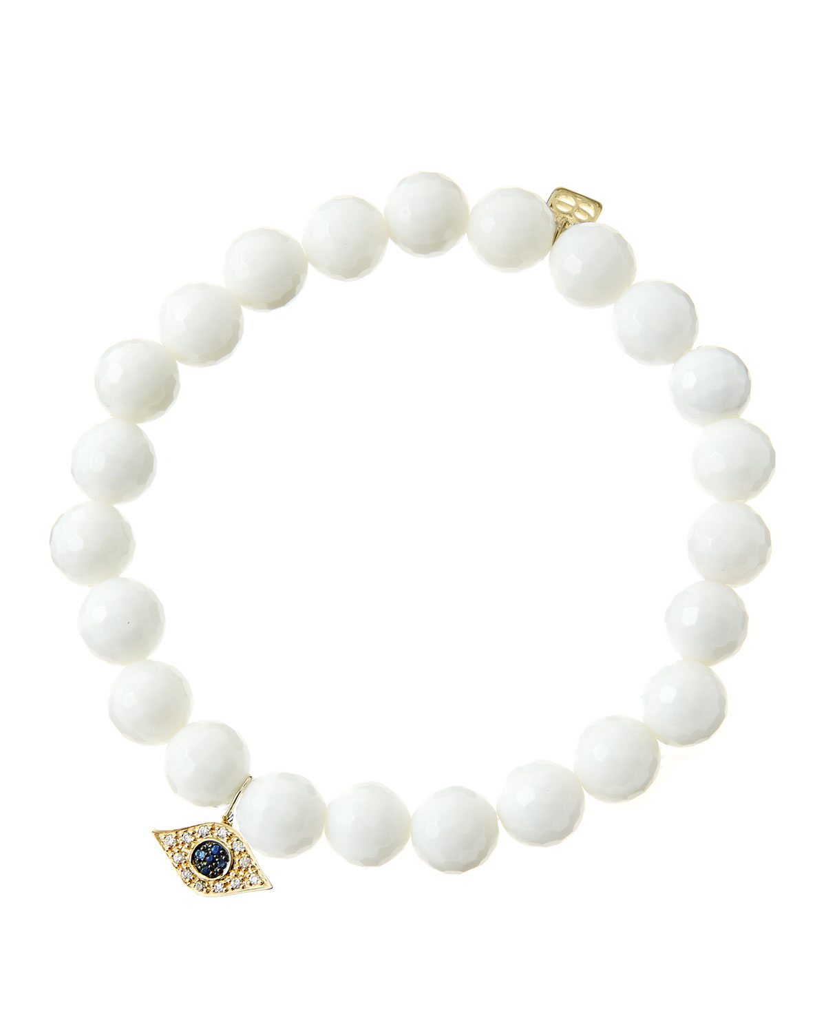 8mm Faceted White Agate Beaded Bracelet with 14k Yellow Gold/Diamond Small Evil
