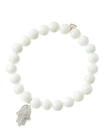 8mm Faceted White Agate Beaded Bracelet with 14k White Gold/Diamond Medium ...