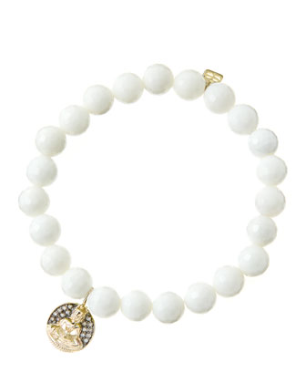 8mm Faceted White Agate Beaded Bracelet with 14k Gold/Diamond Sitting ...