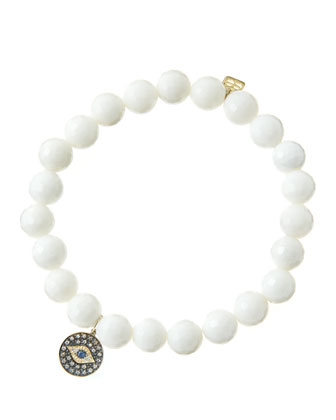 8mm Faceted White Agate Beaded Bracelet with 14k Gold/Rhodium Diamond Small ...