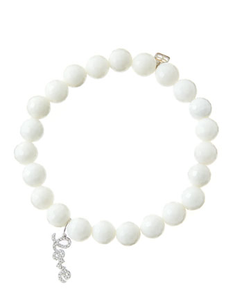 8mm Faceted White Agate Beaded Bracelet with 14k White Gold/Diamond Love ...