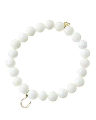 8mm Faceted White Agate Beaded Bracelet with 14k Yellow Gold/Micropave ...