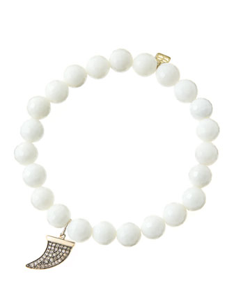 8mm Faceted White Agate Beaded Bracelet with 14k Gold/Diamond Medium Horn ...