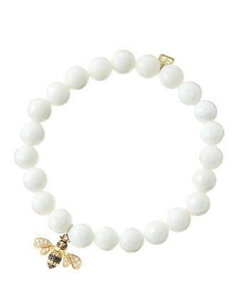 8mm Faceted White Agate Beaded Bracelet with 14k Gold/Diamond Bee Charm ...