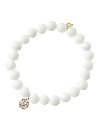 8mm Faceted White Agate Beaded Bracelet with Mini Yellow Gold Pave Diamond ...
