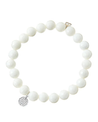 8mm Faceted White Agate Beaded Bracelet with Mini White Gold Pave Diamond ...