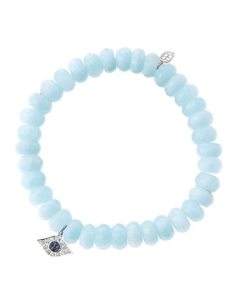 8mm Faceted Aquamarine Beaded Bracelet with 14k White Gold/Diamond Small ...