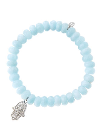 8mm Faceted Aquamarine Beaded Bracelet with 14k White Gold/Diamond Medium ...