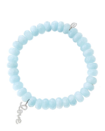 8mm Faceted Aquamarine Beaded Bracelet with 14k White Gold/Diamond Love ...