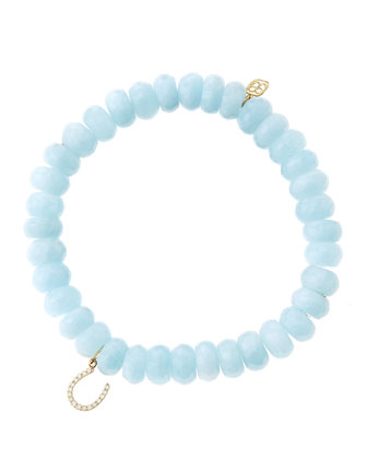8mm Faceted Aquamarine Beaded Bracelet with 14k Yellow Gold/Micropave ...
