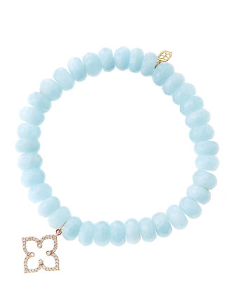 8mm Faceted Aquamarine Beaded Bracelet with 14k Rose Gold/Diamond Moroccan ...