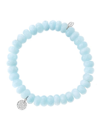 8mm Faceted Aquamarine Beaded Bracelet with Mini White Gold Pave Diamond ...