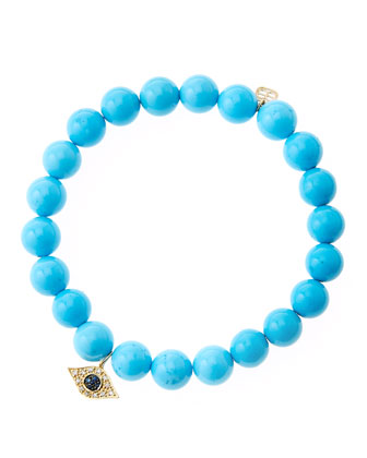 8mm Turquoise Beaded Bracelet with 14k Yellow Gold/Diamond Small Evil Eye ...